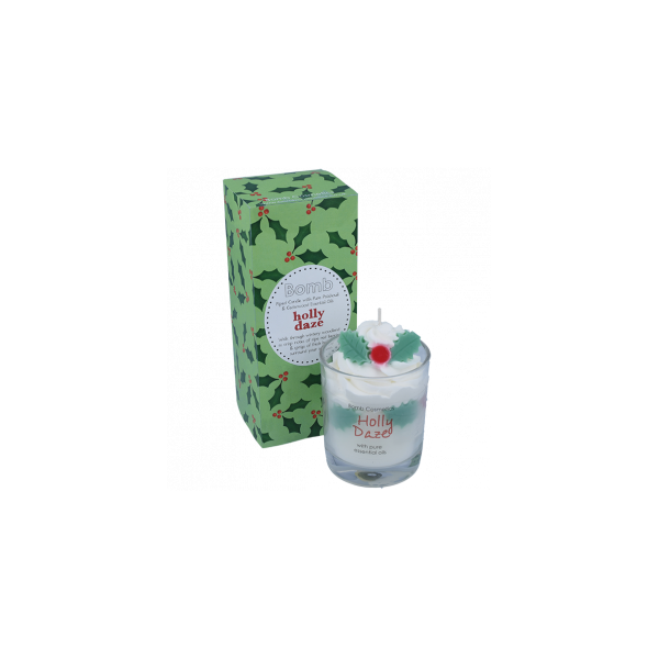 Holly Daze Piped Glass Candle
